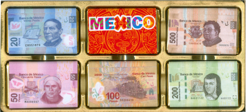Souvenir Billetes Mexico 12 Chocolates - (c/8pzs)